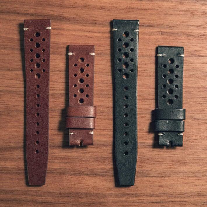Nezumi Studios Rindt leather watch strap color options close up