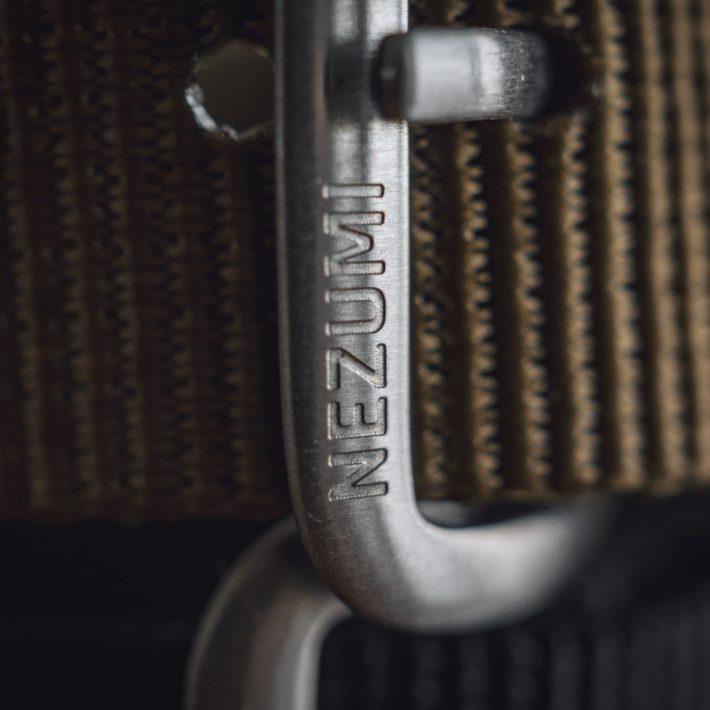 Nezumi Studios Terrain nato watch strap branded buckle close up