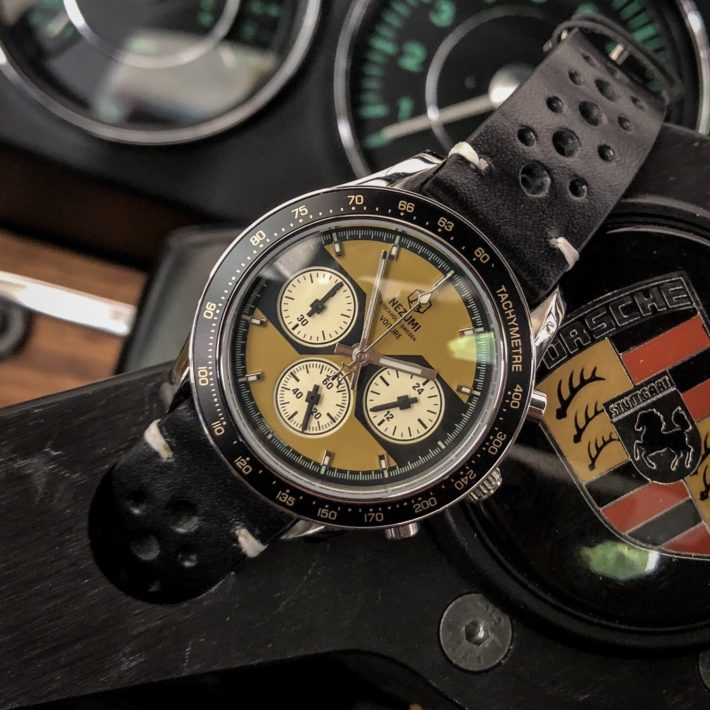 Nezumi Studios Voiture racing chronograph watch with leather strap