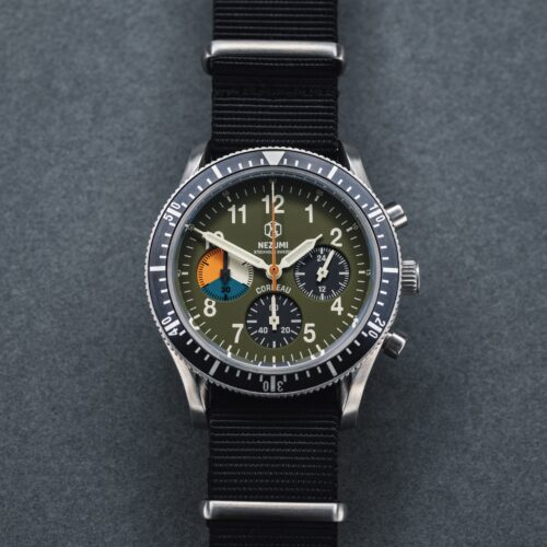 Nezumi Studios Watch Corbeau aviation chronograph with nato strap