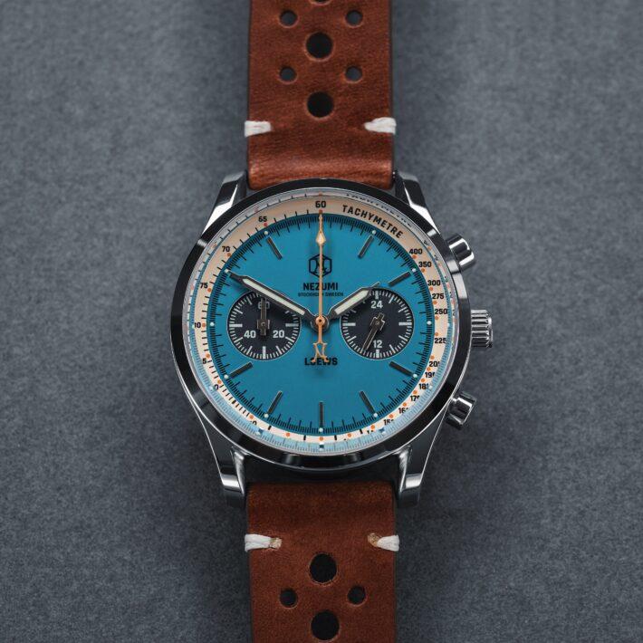 Nezumi Studios Watch Loews racing chronograph with leather strap