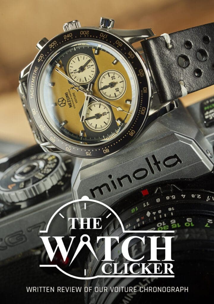 Nezumi Studios Watch Voiture racing chronograph with leather strap review by The Watch Clicker