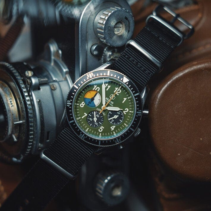 Nezumi Studios Watch Corbeau military chronograph with nato strap