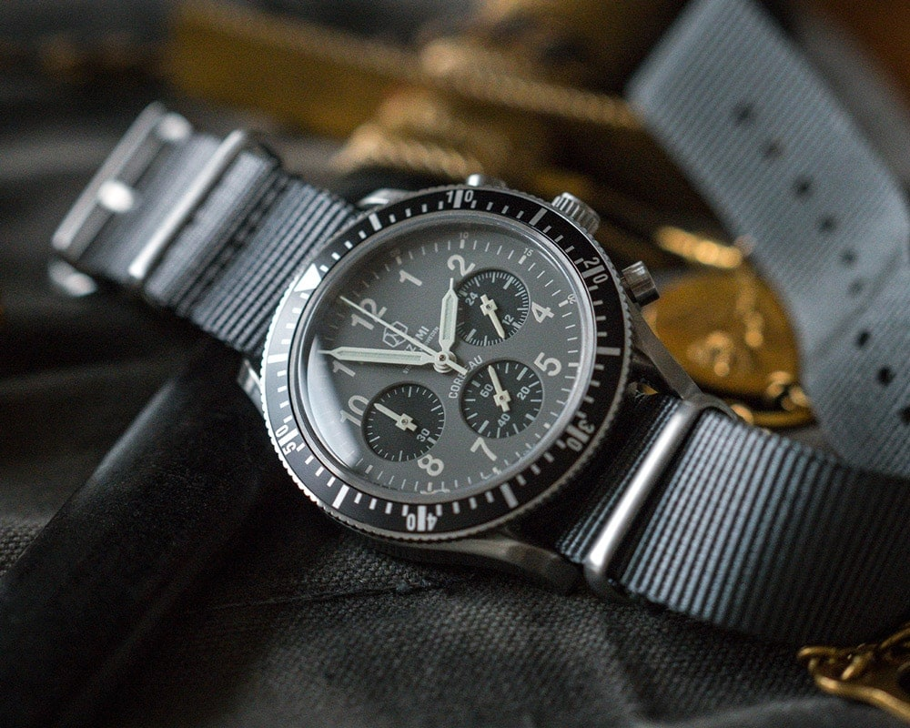 Nezumi Studios Watch Corbeau CQ1.102 military chronograph with nato strap