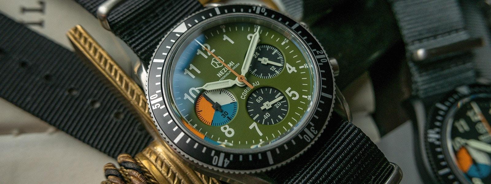 Nezumi Studios Watch Corbeau CQ1.402 military chronograph with nato strap