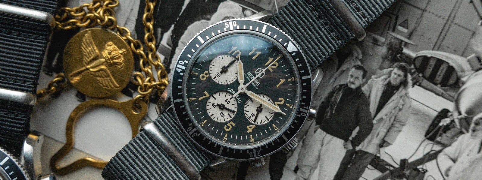 Nezumi Studios Watch Corbeau CQ2.202 military chronograph with nato strap