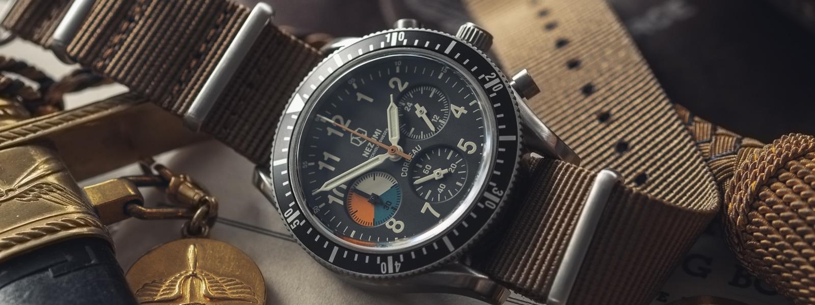 Nezumi Studios Watch Corbeau CQ2.533 military chronograph with nato strap